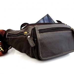 full Leather wallet Bag man zipper Waist Pouch
